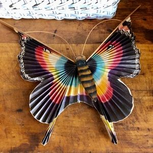 Vtg Japanese folded paper and wood butterfly, fan